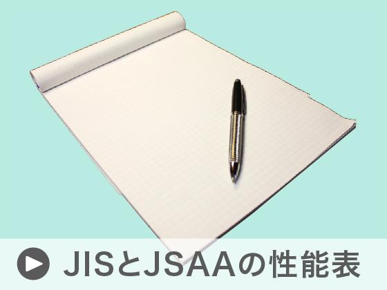 JISとJSAA規格の性能表