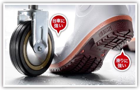 小指も守るプロテクトウズ5先芯搭載。さらに超耐滑ハイグリップ底採用の長靴