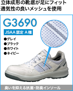立体成形の靴底で足裏にフィットするG3690